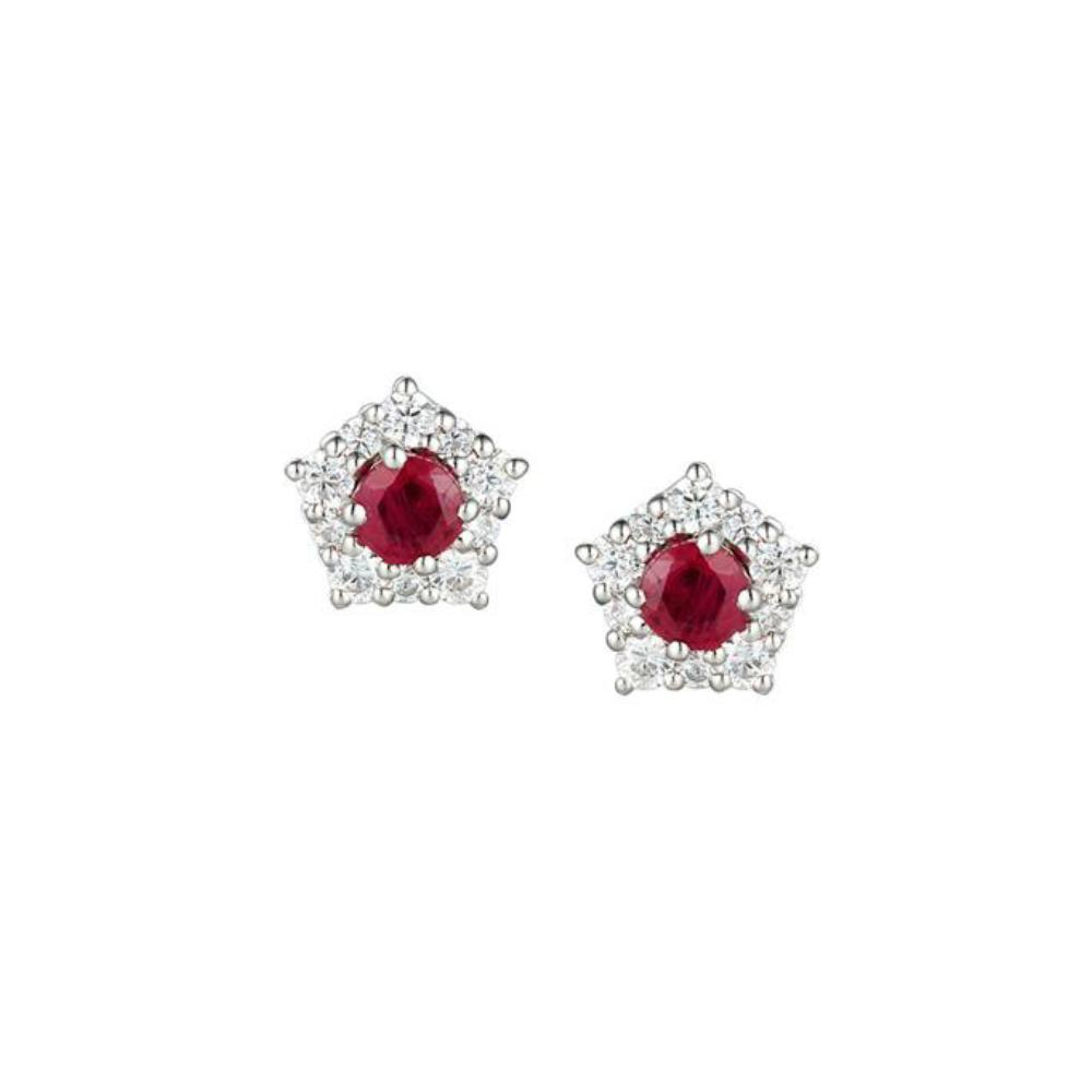 Amore Earrings Amore Silver classico cluster stud earrings set with rubys