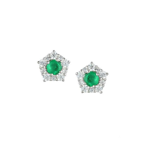Amore Earrings Amore Silver classico cluster stud earrings with Emerald and CZ