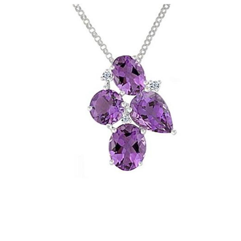Amore Pendant Amore Silver cluster pendant with oval and pear shape Amethyst