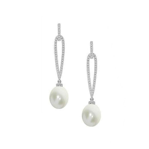 Amore Earrings Amore silver & pearl drops with cubic zirconia