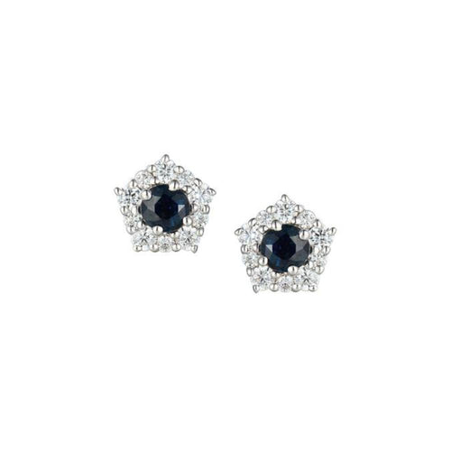 Amore Earrings Amore Silver Sapphire CZ classico cluster stud earrings with Sapphire and CZ