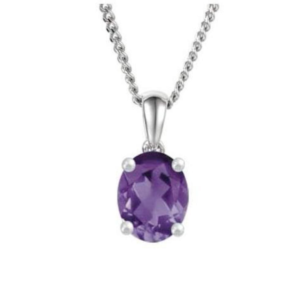 Amore Pendant Amore White Gold oval Amethyst pendant