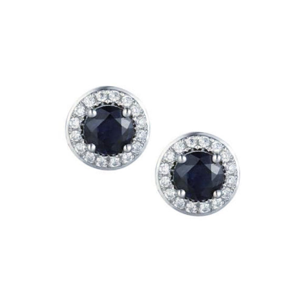 Amore Earrings Amore white gold Sapphire & Diamond round stud earrings