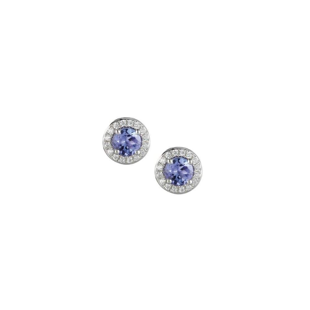 Amore Earrings Amore White Gold Tanzanite & Diamond round stud earrings