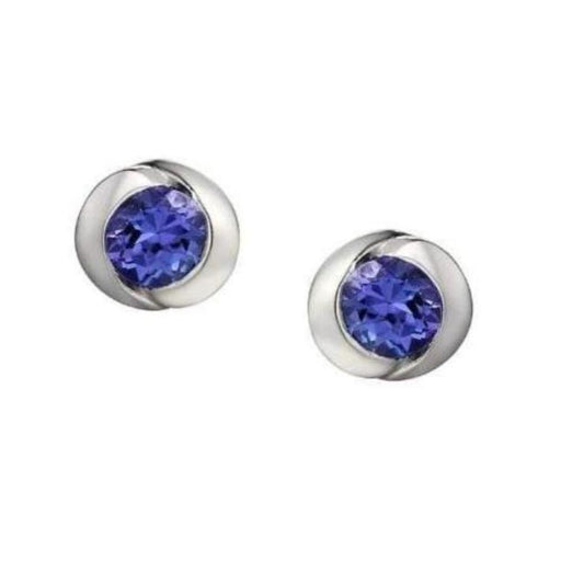 Amore Earrings Amore white Gold Tanzanite round stud earrings