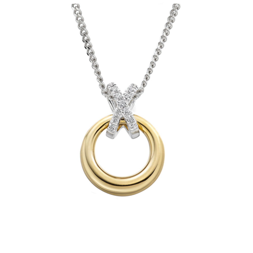 Amore Pendant Amore yellow and white gold diamond disc pendant