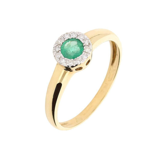 Amore Ring Amore yellow gold emerald and diamond halo ring