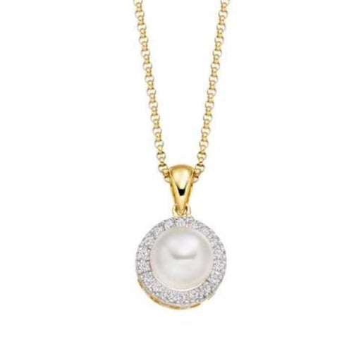 Amore Neckwear Amore yellow gold pearl and diamond cluster pendant