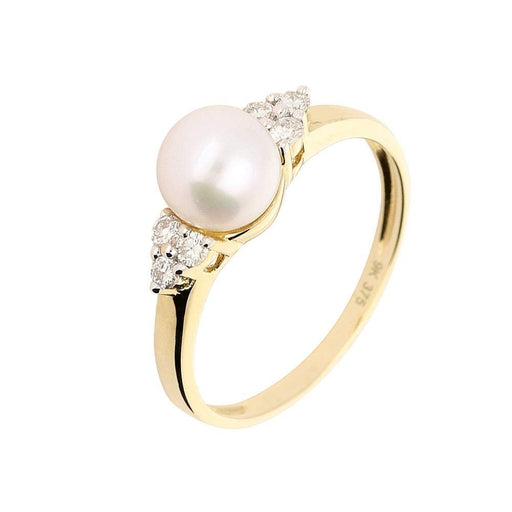 Amore Ring Amore yellow gold pearl ring with a cluster of diamonds on both sides