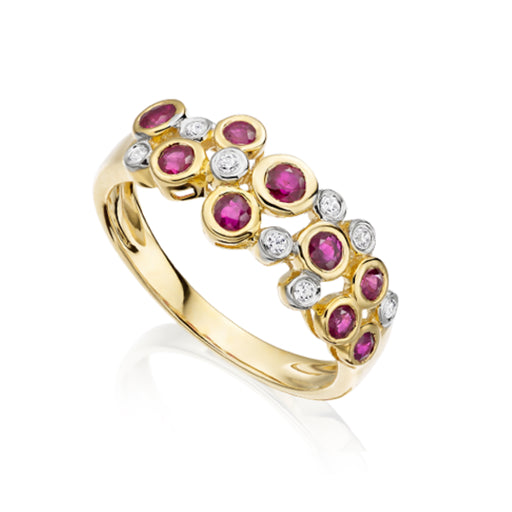 Amore Ring Amore yellow gold ruby and bubble ring