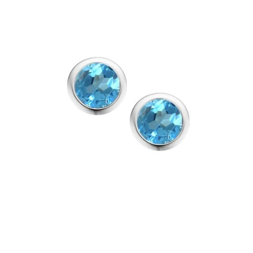 Earrings Amore Silver and Blue Topaz 4mm round stud earrings in rubover setting