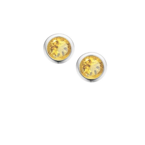 Earrings Amore Silver and Citrine 4mm round stud earrings in rubover setting