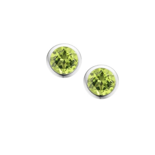 Earrings Amore Silver and Peridot 4mm round stud earrings in rubover setting