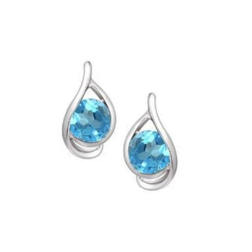 Earrings Amore Silver blue topaz swirl stud earrings