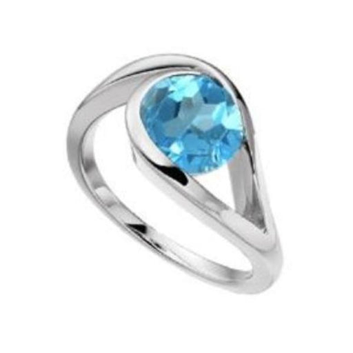 Ring Amore Silver blue topaz teardrop swirl ring