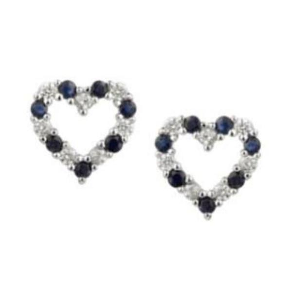Earrings Amore Silver CZ and Sapphire open heart stud earrings