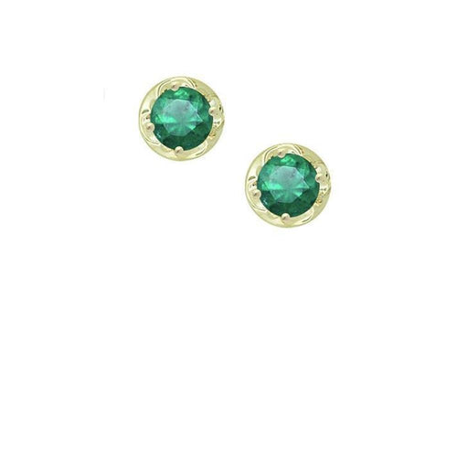 Earrings Amore Yellow Gold Emerald round  claw stud earrings