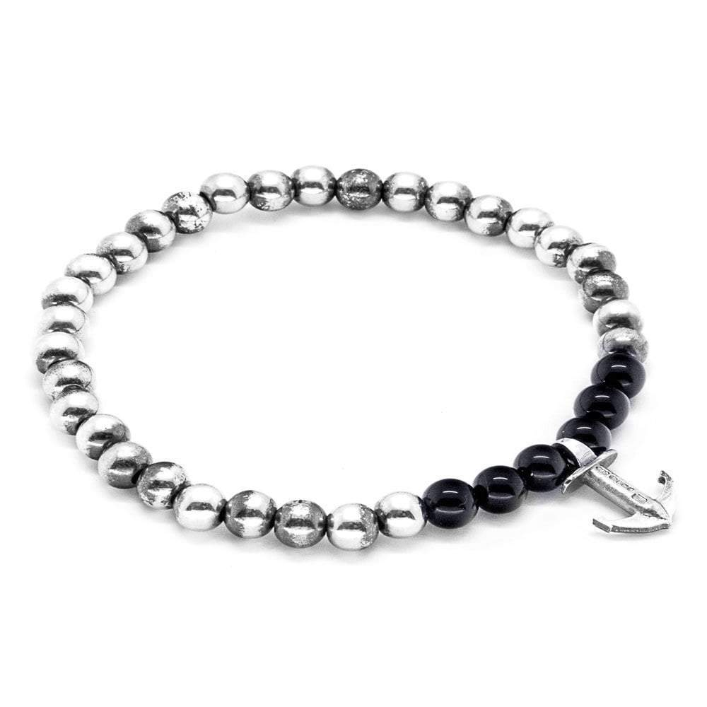 Anchor & Crew Black Onyx Keel Silver And Stone Bracelet - 19cm (most popular) LfySl6