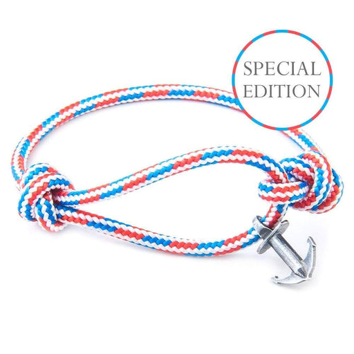 Anchor & Crew Bracelet Anchor and Crew Silver red white and blue rope severn bracelet