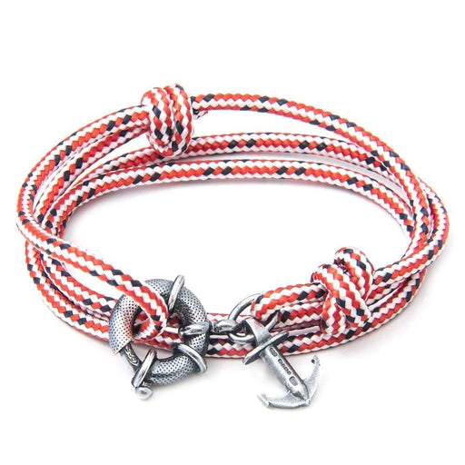 Anchor & Crew Bracelet Anchor & Crew Silver red dash rope clyde bracelet