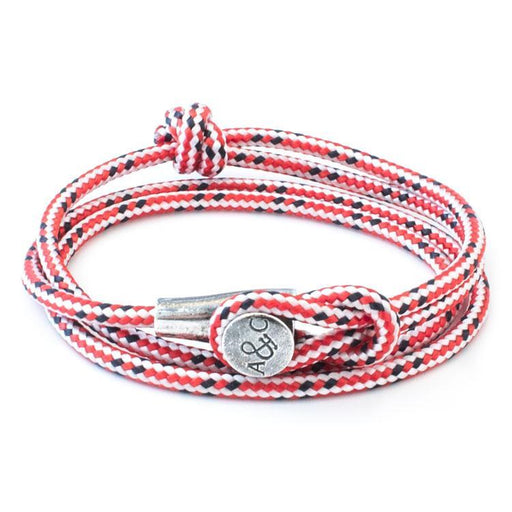 Anchor & Crew Bracelet Anchor & Crew Silver red dash rope dundee bracelet