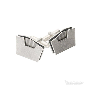 Atelier Gilmar Cufflinks Atelier Silver palladium stripe rectangle cufflinks