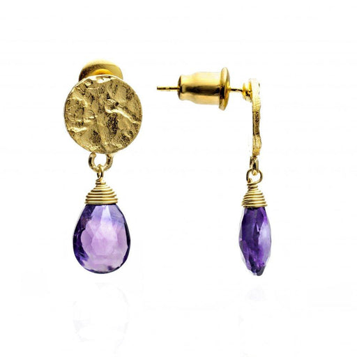 Azuni Earrings Azuni Gold disc with Amethyst drop earring