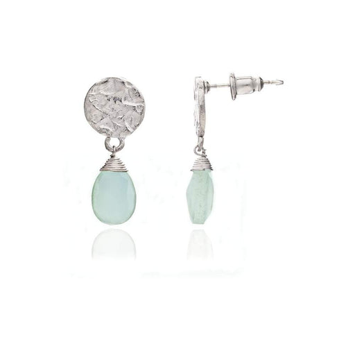 Azuni Earrings Azuni silver aqua chalcedony pear drop earrings