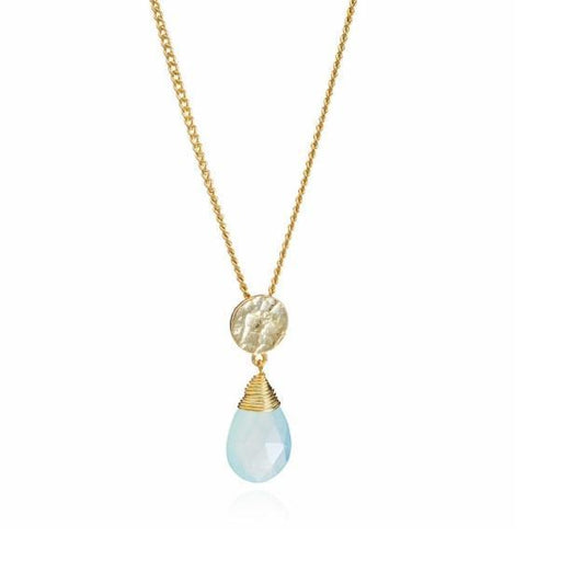 Necklace Azuni gold aqua chalcedony Kate necklace