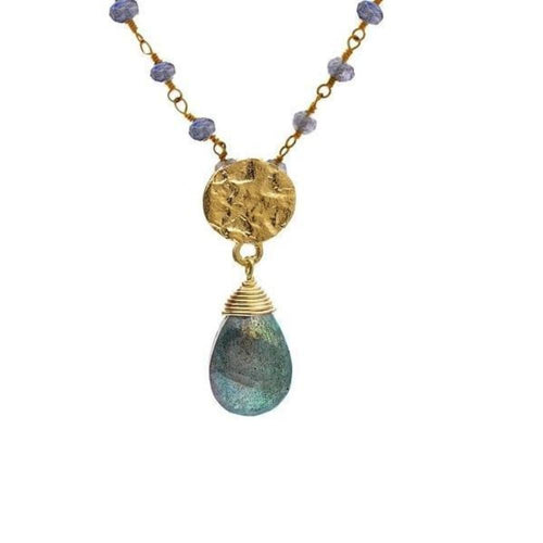 Necklace Azuni gold labradorite athena brio necklace