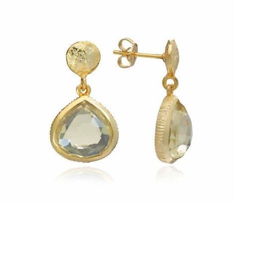 Earrings Azuni Gold lemon quartz Eos drop earrings