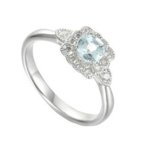 Amore Silver Aqua CZ floral cluster ring