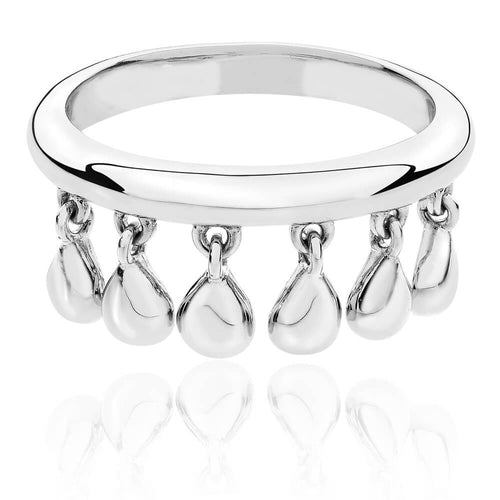 Lucy Q Silver teardrop charm ring