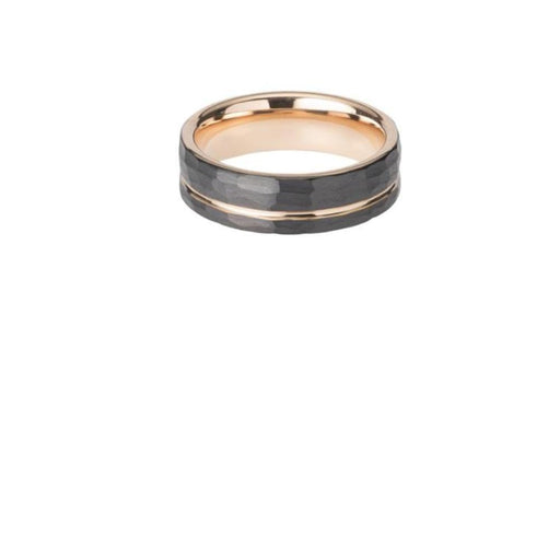 Ring Black plated tungsten carbide hammered ring with rose gold inner