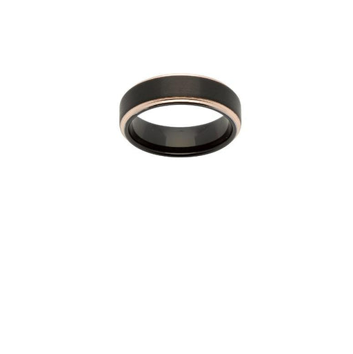 Ring Black plated tungsten carbide ring with rose gold edges