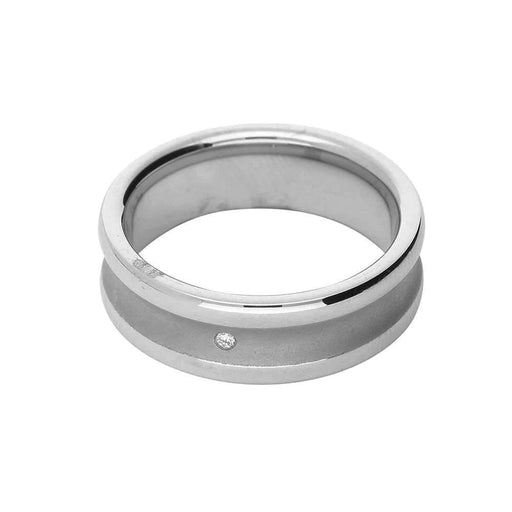 Breuning Ring Silver diamond lipped band