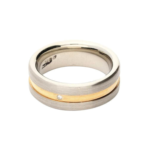 Breuning Ring Silver gold diamond groove band