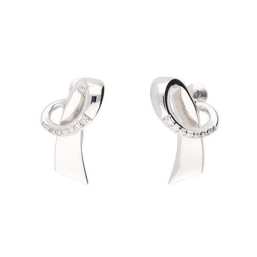 Breuning Earrings White gold diamond loop stud earrings