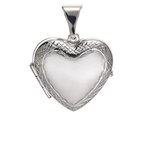 Silver heart locket with lovely patterned sides