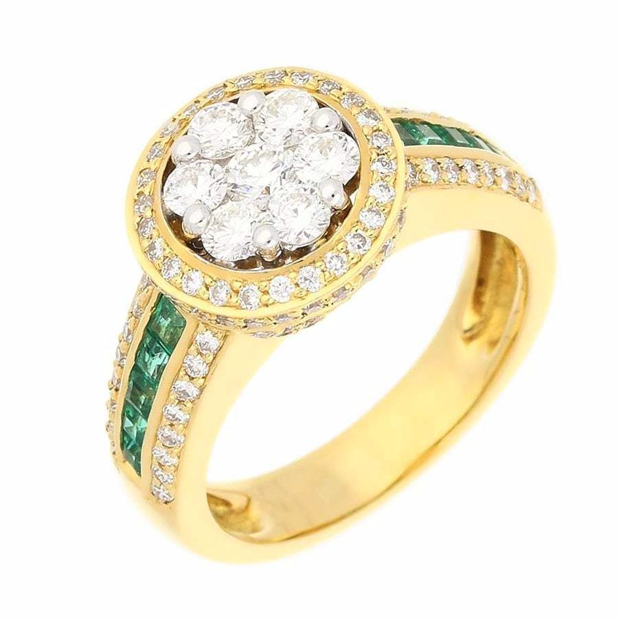 Buchwald Ring 18ct yellow Gold Diamond & Emerald ring