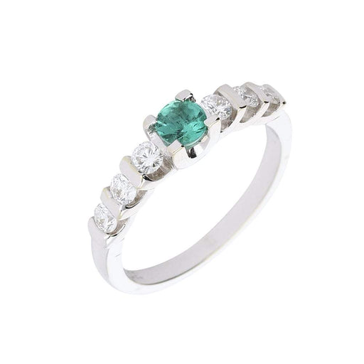 Buchwald Ring Buchald emerald white gold ring with six diamonds
