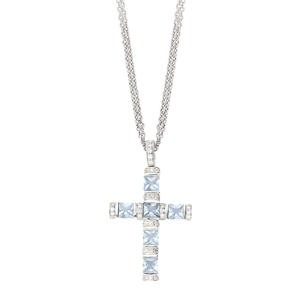 Buchwald Pendant Buchwald aquamarine and diamond cross
