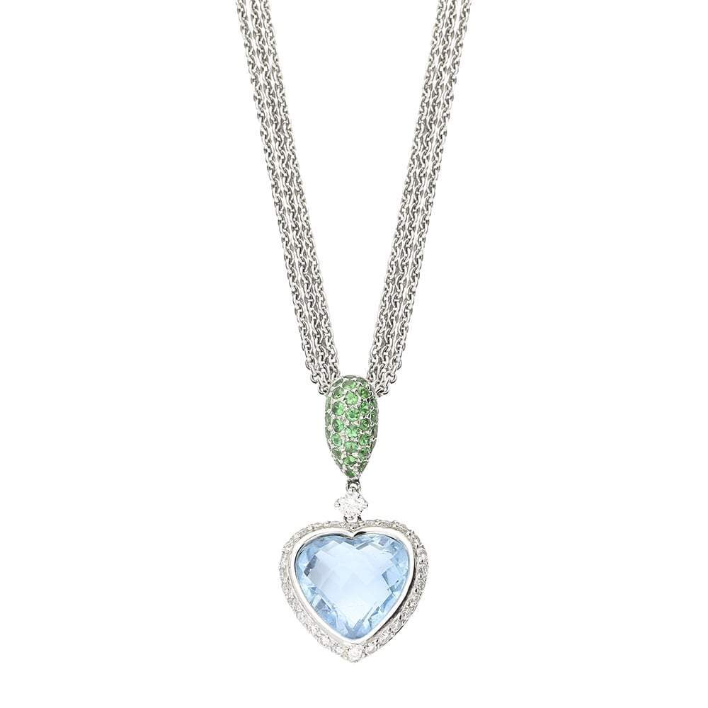 Buchwald Pendant Buchwald blue topaz ,diamond and tsavorite heart pendant