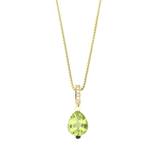 Buchwald Pendant Buchwald gold peridot teardrop pendant with diamond detail