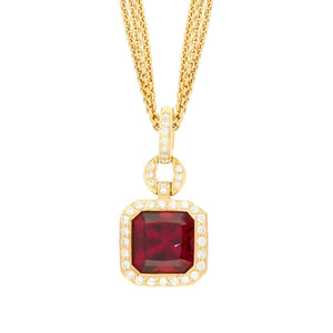 Buchwald Pendant Buchwald rhodolite pendant set with diamonds and amethyst in rose gold