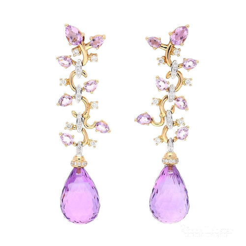 Buchwald Earrings Buchwald rose gold amethyst briollette and diamond floral drop earrings