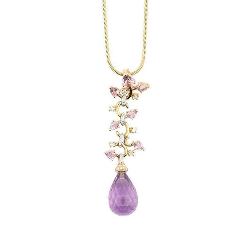 Buchwald Pendant Buchwald rose gold amethyst briollette and diamond floral pendant