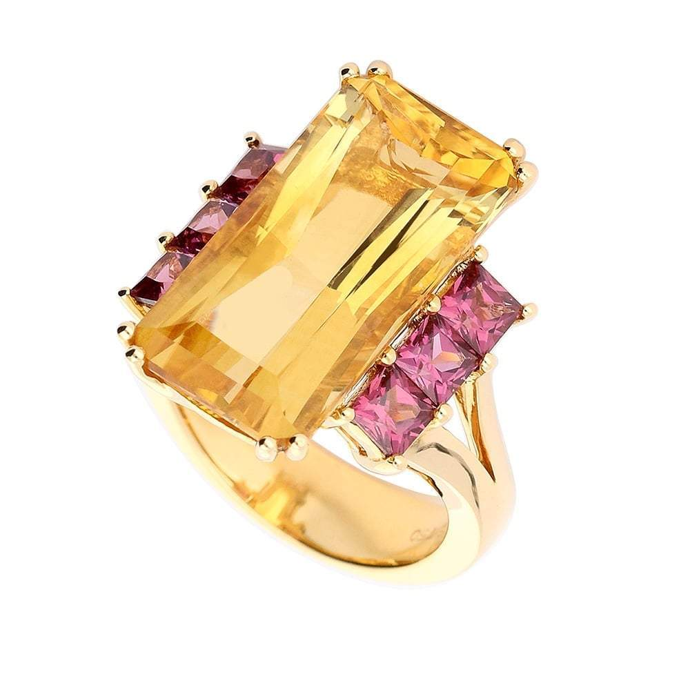 Buchwald Ring Buchwald rose gold citrine ring with pink rhodolite side stones