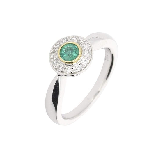 Buchwald Ring Buchwald white gold cluster ring set with emerald and diamonds