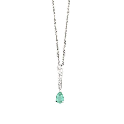 Buchwald Pendant Buchwald White gold emerald and diamond teardrop pendant